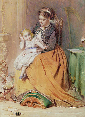 Playing Drawing - Tick, Tick, Tick - A Girl Sitting by George Elgar Hicks