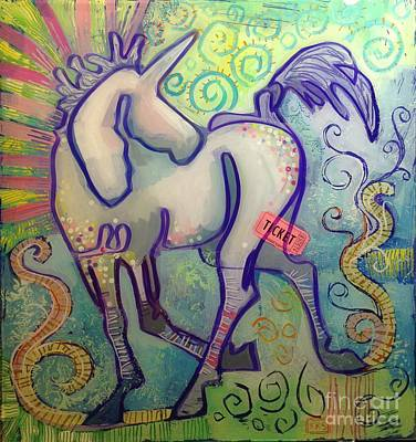 Unicorn Art Painting - Ticket To Anywhere by Kimberly Santini