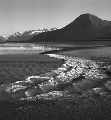 Photograph - Mi-489-bw-tidal Bore In Cook Inlet, Ak by Ed  Cooper Photography