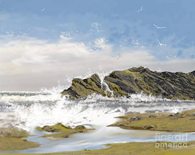 Drawing - Tide Is Coming In by Jim Hubbard