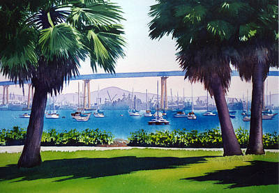 Bay Bridge Painting - Tide Lands Park Coronado by Mary Helmreich