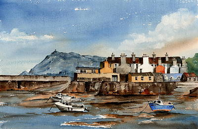 Painting - Tide Out Bray Harbour  Wicklow by Val Byrne