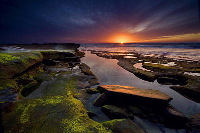Beach Royalty-Free and Rights-Managed Images - Tidepool Sunsets by Peter Tellone
