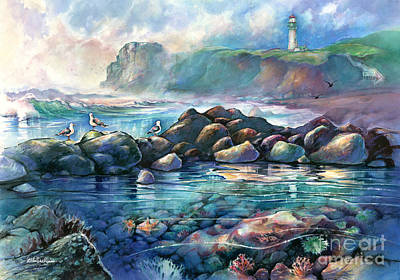 Tidepools At Yaquina Head Light Art Print
