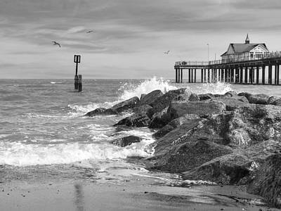 Photograph - Tide's Turning - Black And White - Southwold Pier by Gill Billington