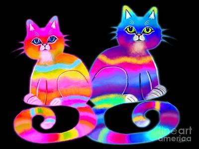 Colorful Art Digital Art - Tie Dye Cats by Nick Gustafson