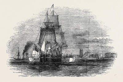 Whaling Drawing - Tie First Greenland Whaling Ship Leaving Hull by English School