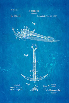 1887 Photograph - Tiebout Anchor Patent Art 1887 Blueprint by Ian Monk