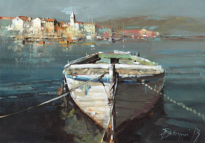 Tied Boat By The City Art Print by Branko Dimitrijevic
