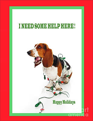 Tied Up Basset Art Print by Jan Tyler