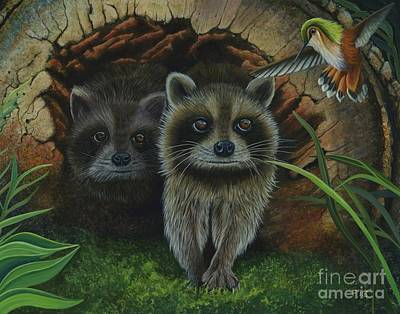 Painting - Tiffany And Raccoons by Rosellen Westerhoff