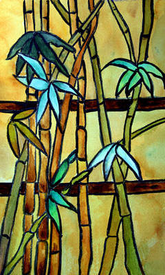 Stained Glass Painting - Stained Glass Tiffany Bamboo Panel by Donna Walsh