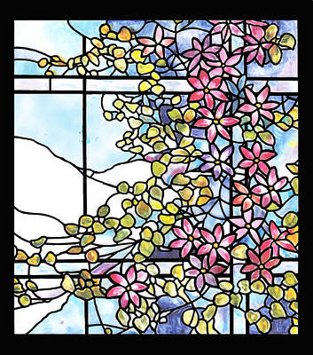 Stained Glass Tiffany Floral Skylight - Fenway Gate Art Print by Donna Walsh