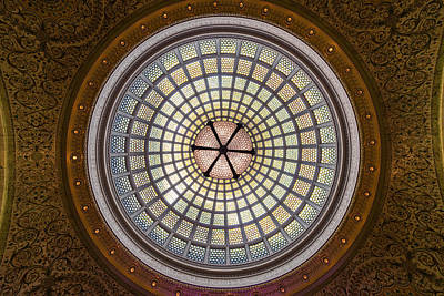 Tiffany Photograph - Tiffany Dome In Chicago Cultural Center by Steve Gadomski