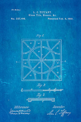 Tiffany Photograph - Tiffany Glass Patent Art 1881 Blueprint by Ian Monk