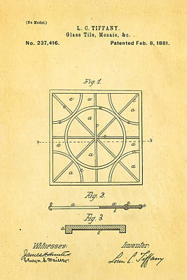 Tiffany Photograph - Tiffany Glass Patent Art 1881 by Ian Monk