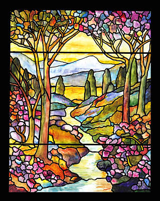 Tiffany Landscape Window Art Print by Donna Walsh