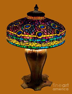 Uroboros Glass Glass Art - Tiffany Peacock Lamp by David Kennedy