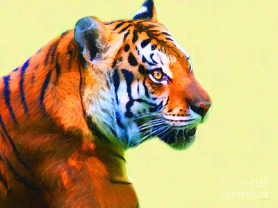 Tiger . 7d2058 . Painterly Art Print by Wingsdomain Art and Photography