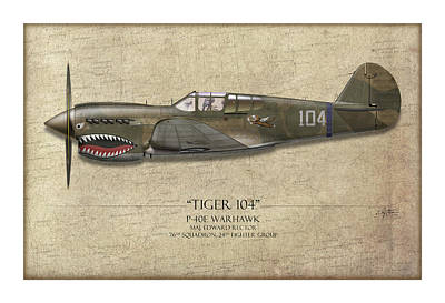 Tiger 104 P-40 Warhawk - Map Background Art Print by Craig Tinder