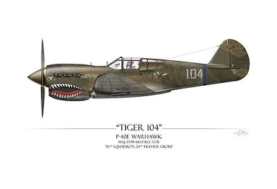 Tiger 104 P-40 Warhawk - White Background Art Print by Craig Tinder