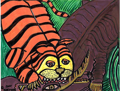 Animation Drawing - Tiger And Buffalo by Don Koester