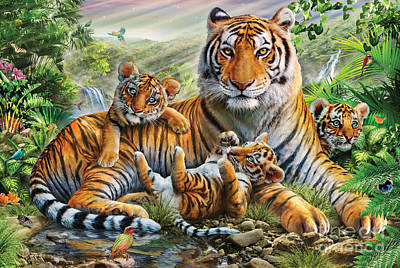 Tiger And Cubs Print by Adrian Chesterman