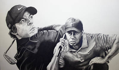Nike Drawing - Tiger And Rory by Jake Stapleton