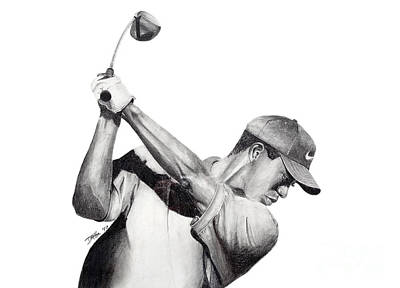 Drawing - Tiger Backswing by Devin Millington