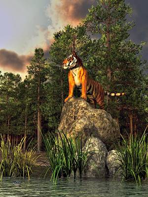 The Tiger Digital Art - Tiger By The Lake by Daniel Eskridge