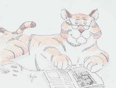 Animals Drawings - Tiger Cartoon by Mike Jory