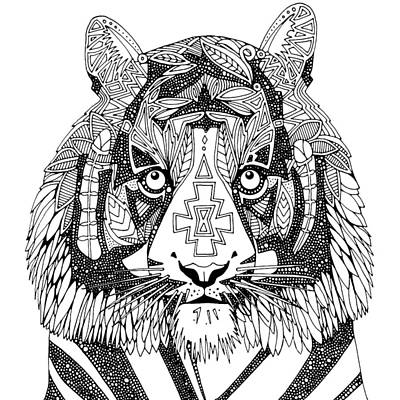 Tiger Drawing - Tiger Chief Black White by Sharon Turner