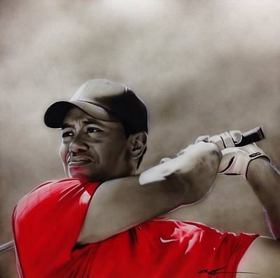 Golfer Painting - Tiger Woods - ' Tiger ' by Christian Chapman Art