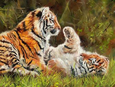 Animals Paintings - Tiger Cubs Playing by David Stribbling