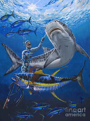 Blue Marlin Painting - Tiger Encounter by Carey Chen