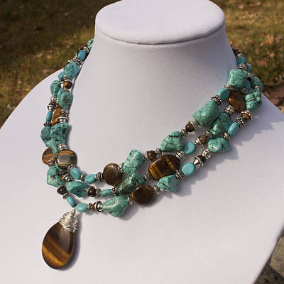 Sterling Silver Jewelry - Tiger Eye And Turquoise Triple Strand Necklace 3640 by Teresa Mucha