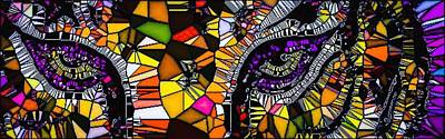 Louisiana State University Digital Art - Tiger Eyes Mosaic by Lady Ex