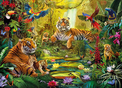 Cat Sunset Digital Art - Tiger Family In The Jungle by Jan Patrik Krasny