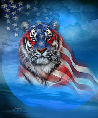Tiger Mixed Media - Tiger Flag by Carol Cavalaris