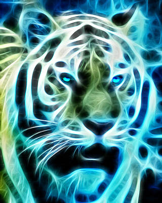 Tiger Fractal Art Print by Bill Cannon