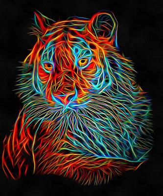 Kitty Digital Art - Tiger Glowing by Yury Malkov