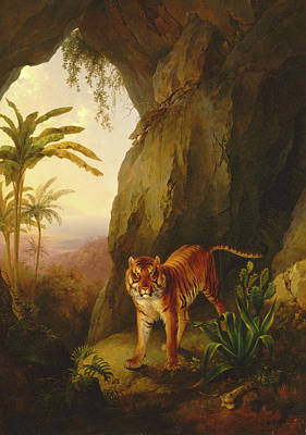 Tiger Woods Painting - Tiger In A Cave Tropical Landscape With A Tiger Standing by Litz Collection