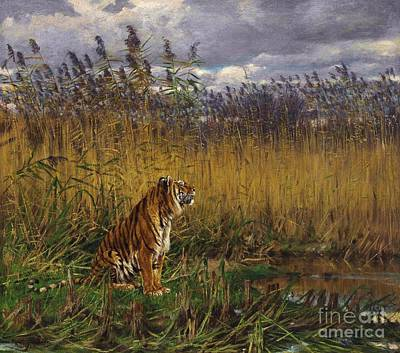 Fauna Painting - Tiger In A Landscape by Pg Reproductions