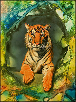 Tiger In Abstract Art Print by Paul Krapf