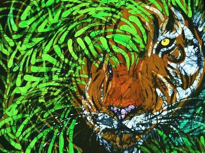 Tiger In Bamboo  Print by Kay Shaffer