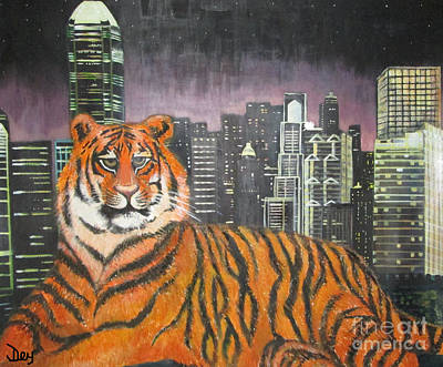 The Tiger Painting - King Cat In New York City by Janelle Dey