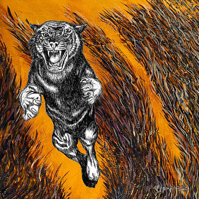 Animals Drawings - Tiger in Tall Grass by Ed Hoverz