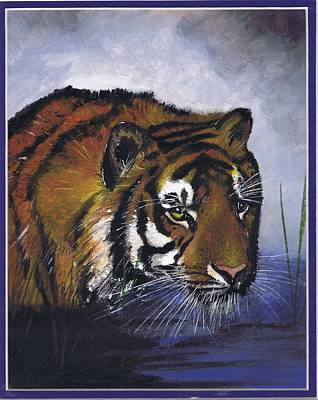 Painting - Tiger In The Water by Jerry Bates