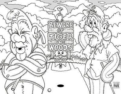 Drawing - Tiger In The Woods by Cristophers Dream Artistry