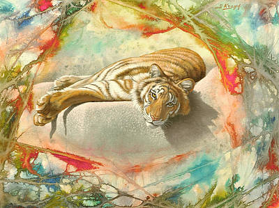 Tiger Painting - Tiger Laying In Abstract by Paul Krapf